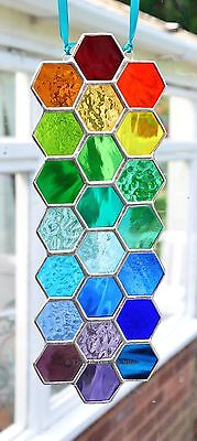 Long Rainbow Bee Honeycomb Stained Glass Art Suncatcher Handmade - The Glass Sea