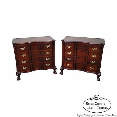 Custom Solid Mahogany Pair of Chippendale Style Block Front Chests Nightstands