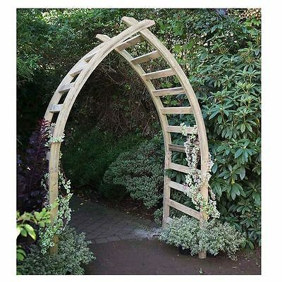 Wooden Garden Arch Climbing Plants Flowers Ornate Path Shade Patio Decor Arbour