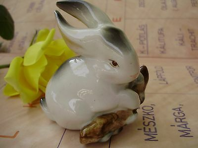 Vintage Hungarian Zsolnay porcelain figurine ,cute bunny w.branch