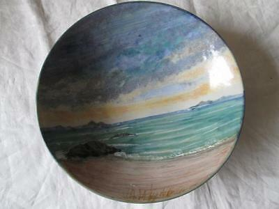 STUNNING HIGHLAND STONEWARE SEASCAPE FRUIT/SERVING BOWL (28cm) (SIGNED)