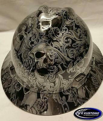 Silver Skulls and Roses Full Brim New Custom MSA V-Gard  Hard Hat W/FasTrac