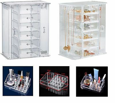 Acrylic Make up Organiser Jewellery Drawer/Case Watch + Hair Accessories Holder