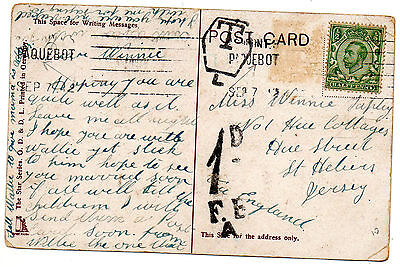 Postcard England to Jersey  ?1912  ?1d  FB A and T in a box  L