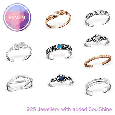 Sterling Silver Adjustable Stacking Rose Gold Midi Ring Toe Knuckle Wrap Ring