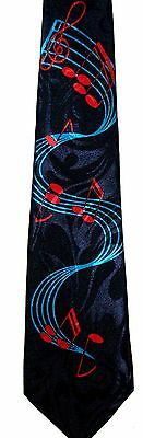 Music Notes  Blue And Red Necktie New Tie Band Singer Player Rocker Roller