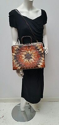 Genuine Vintage 70s Patchwork Brown Leather & Snakeskin Handbag Shoulder Bag