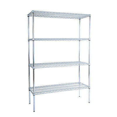 Heavy Duty Plastic Coated Wire 4 Tier Hygienic Shelving Unit (1700MM High)