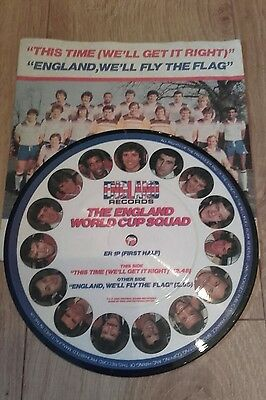 """1982 The England World Cup Squad Picture Disc 7"""" 45 RPM Single Record"""