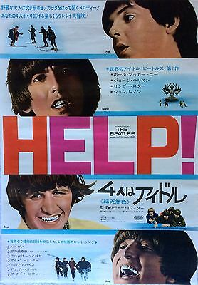 "The Beatles ""help"" Ultra-Rare Original 1965 Japanese Movie Poster Nice Condition"