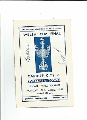 CARDIFF CITY v SWANSEA TOWN 1956 (Welsh Cup Final - 2 Autographs on cover)