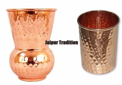 2 Pcs 100% Pure Copper Indian Handmade Glass/Cup Drinking Water u03