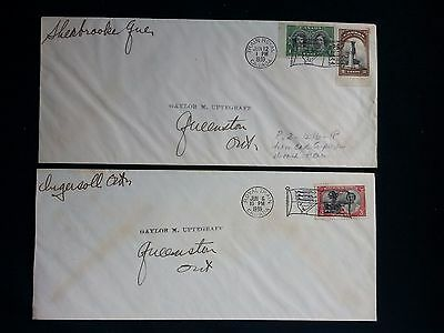 2 1939 Covers Kgvi Royal Visit To Canada - Royal Train & Flag Cancels