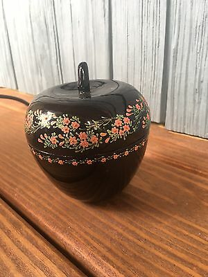 Vtg. Black Japanese Laquer Apple Shaped Vanity Box W/Hand Painted Flowers