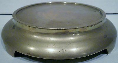 """6-7/8"""" Diameter Brass Asian Oriental Round Footed Display Base Stand"""