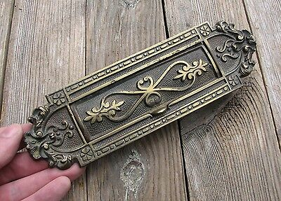 Antique Victorian Ornate Solid Brass Letter Box Plate / Door Mail Slot / Mailbox