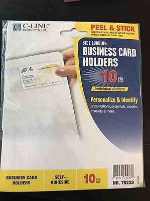 "C-Line Self-Adhesive Side-Load Business Card Holders 3 1/2 X 2"" Clear 10 Per Pac"