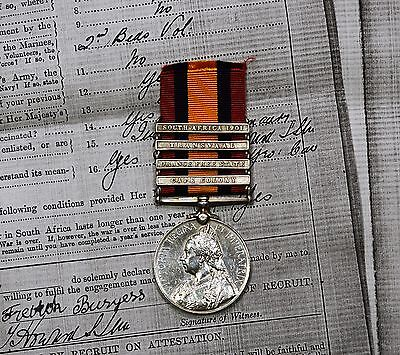 Queens South Africa Medal 4 Bars To 32573 PTE.F.BURGESS. 110TH COY IMP: YEO: