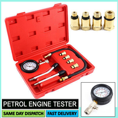 Petrol Engine Compression Test Tool Set Gauge Car Motorcycle + Box Free Delivery