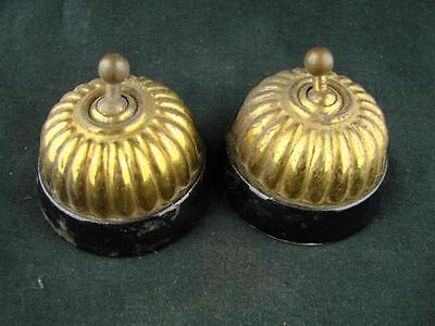 Pair Of Antique Brass & Black Glazed Ceramic Jelly Mould Light Switch / Switches