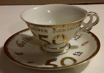 Golden 50th Anniversary China Cup and Saucer