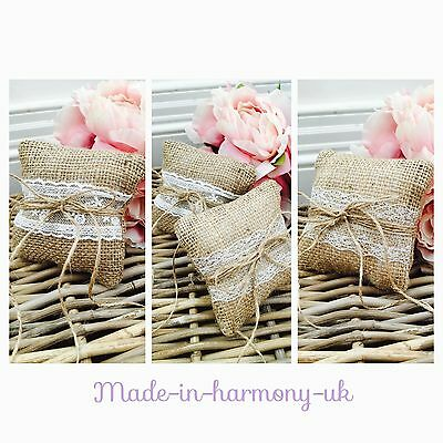 Rustic Hessian Wedding Ring Cushion - 2 Laces To Choose