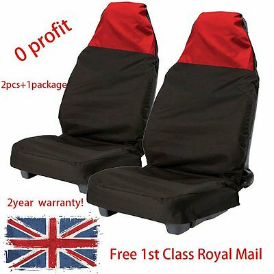 2xUniversal Waterproof Front Seat Cover Protector Car Van Nylon Heavy Duty Red