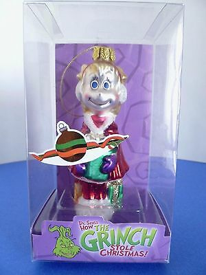 How the Grinch Stole Christmas Cindy Lou Who w Gift Glass Holiday Ornament 2004