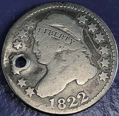 1822 Capped Bust Dime 10c VERY RARE DATE holed but nice grade 5651