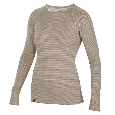 Ibex Women'S 220Gm Woolies Crew Neck Striped Base Layer Sand Dollar - Large