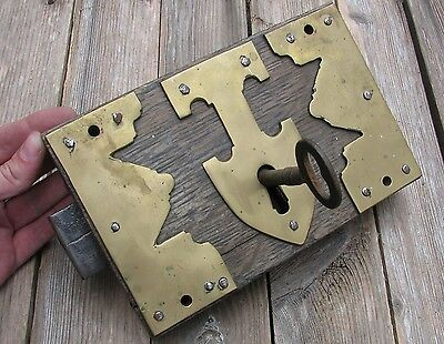 Antique Large Oak and Brass Door Lock  - WITH KEY / Wood / Wooden / Iron
