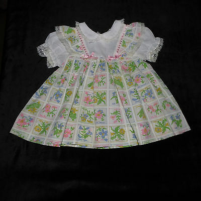 Sweet Vintage Pinafore Pinny Style Floral Dress 12 Months Evc Lace Trim