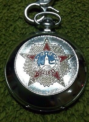 Vintage Russian Soviet Pocket Watch Collectible Time Piece Chained