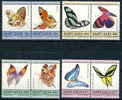 "1985 St.Lucia MNH set of 4 Pairs (8 stamps) ""Butterflies"" SC.731-738"