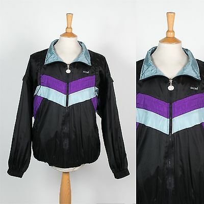 Vintage 80's 90's Shell Suit Tracksuit Jacket Top Zip Removable Sleeves L