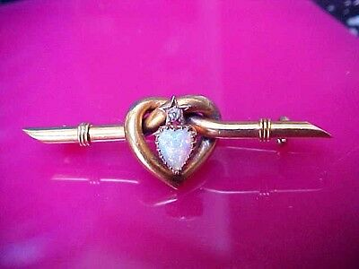 Antique 15Ct Gold Love Heart Shaped Brooch  /pin Set With Fire Opal And Diamond