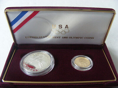 1988 US Mint Olympic Coins ($5 Gold and Silver $1 Proof). Two piece set w/ CoA.