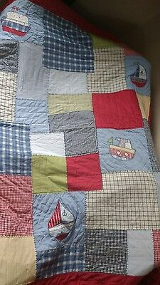 Next Home Patchwork Quilted Bedspread Throw Nautical Boats Boys Bedroom Shabby C