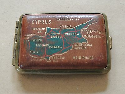 Collectible brown Match Box with the a map of Cyprus Repousse.
