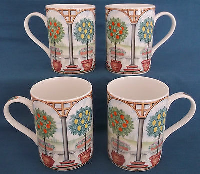 Four Queens Pergola Garden Fine Bone China Orange Lemon Fruit Trees Mugs Unused