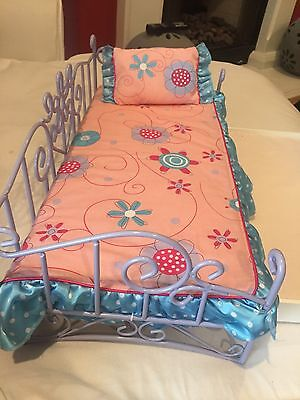 American Girl Doll Bed For Doll Pink and Purple Trundle Bed With Pillow