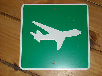 Aircraft Sign tin Metal green w/white border Airplane Sign airport sign