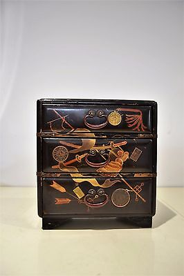 Antique Japanese Lacquered Jewelry Tansu Cabinet Box Inserted Coins