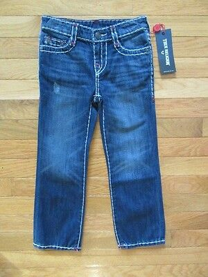 True Religion Kids Ricky Contrast Oxford Blue Flap Jeans, Nwt$129, Adj. Waist, 5