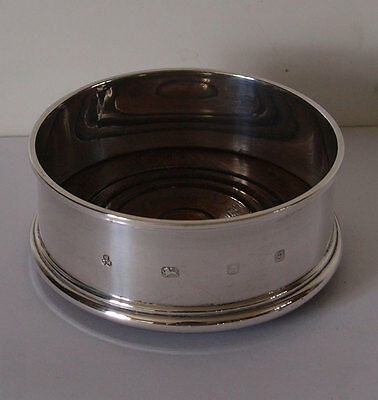 Elegant Solid Silver Wine bottle Coaster - London 1988