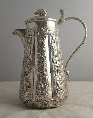 Fine Indian Solid Silver Coffee Pot Or Hot Water Jug - 341g.