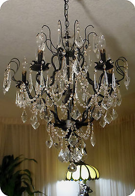 Vtg Antique French Black Crystal Chandelier Prisms, Swags And Spear