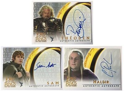 3 x Topps Two Towers LOTR  Autograph Auto Cards Sam, Theoden & Haldir Lord Rings