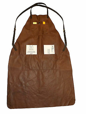 DELUXE APRON ~ Soft Leather Adjustable w/ 4 Chest & Waist Pockets USA HANDMADE