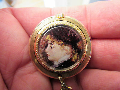 Splendex Ladies G/P & Enamel Necklace Watch -Miniature Potrait Reverse -GC/GWO